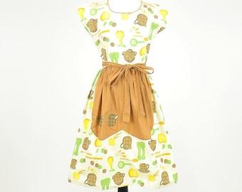 1950s Swirl Wrap Dress, 50s Dress, Cotton Novelty Print Dress, Culinary Kitchen Print Dress S - M