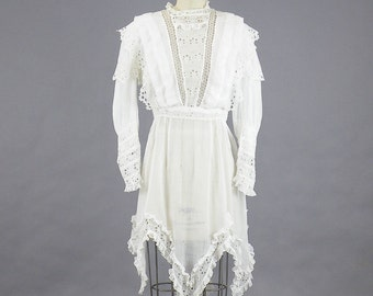 Antique Tunic, Edwardian White Cotton Eyelet Tunic Dress, Downton Abbey 1910s Blouse Dress, Small