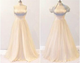 1950s Prom Dress, 50s Wedding Dress and Bolero Jacket, Strapless Tulle Formal Dress XS