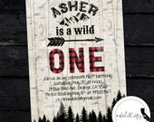 Wild One Birthday Party Invitation, Lumberjack, Buffalo Plaid, Arrow, Mountains, Woods, Printed or Printable Invitations, Free Shipping