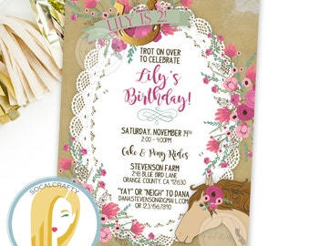 Horse Birthday Party Invitation, Cowgirl Invite, Shabby Chic, Rustic Country, Pink Tan, DIY, Printed or Printable Invitations, Free Shipping