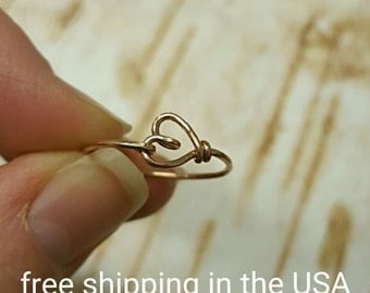 Rose gold ring heart free shipping stacking stackable thin midi