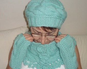 Knit Hat Scarf Gloves in mint green Womens Gift for Her Winter set Birthday gift for women Womens gift ideas