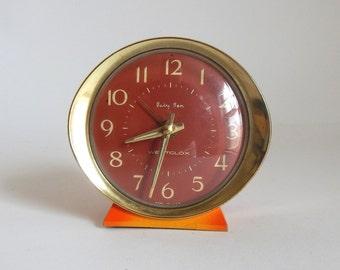 Vintage 1970's WESTCLOX Baby Ben Orange & Yellow Metal Alarm Clock - Doesn't work