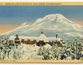 Timberline Lodge in Winter Snow Mt Hood Oregon linen postcard