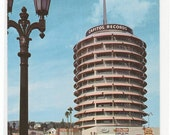 Capitol Records Tower Taxi Cab Street Scene Hollywood Los Angeles California postcard