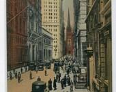 Wall Street New York City NYC NY 1920c postcard
