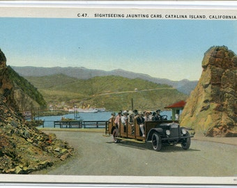 Sightseeing Jaunting Touring Car Catalina Island California 1920c postcard