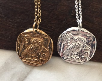 Ancient Coin Necklace, Steeling Silver, 14k Gold Filled, Charm Necklace, Owl Necklace, Greek Mythology Jewelry