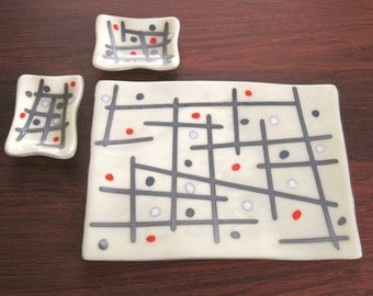 Fused Glass Sushi SET for Two Beige Glass Sushi Platter Plates Soy Sauce Dish Abstract