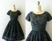 Vintage 1950s Dress - 50s Fall Floral Dress - Through the Woods