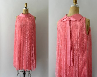 1960s Vintage Dress - 60s MOD Pleated Pink Lace Swing Dress
