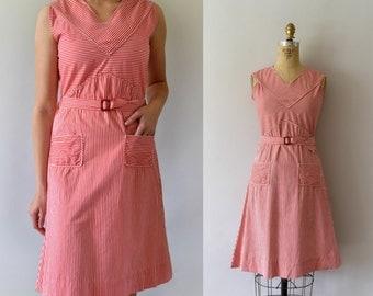 Vintage 1940s Dress - 30s 40s Vintage Red Striped Cotton Sundress