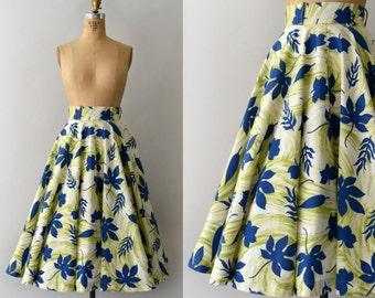 1950s Vintage Skirt - 50s Blue Leaf Print Cotton Circle Skirt