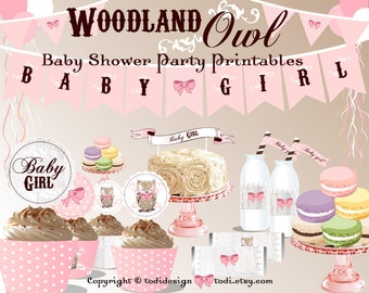 SALE Baby Shower Party Printables & Invitation design - Personalized Full WOODLAND OWL Party