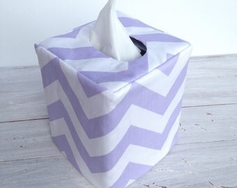 Light Purple chevron reversible tissue box cover