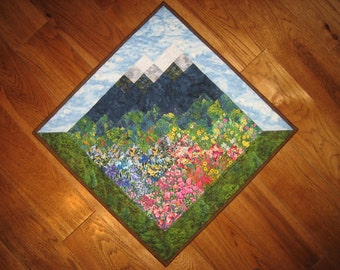 Blue Lake Tahoe Skies Fabric Wallhanging, Landscape Art Quilt, Rustic Cabin Lodge, Wall Art Quilt, Mountain Quilt, Quilted Wall Hanging