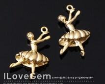 NP-1790 Matt Gold plated, Ballerina, Charm, 2pcs