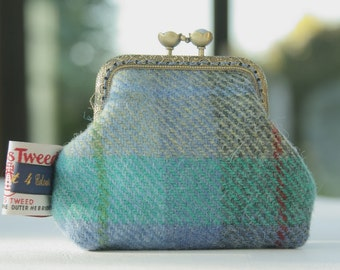 Bronze metal frame coin purse/ pale blue pearls / Check blue green grey Harris tweed/ Liberty tana lawn