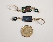 Dark Gray with a Rainbow Freshwater Pearl and Sterling Silver Lever Back  Earrings