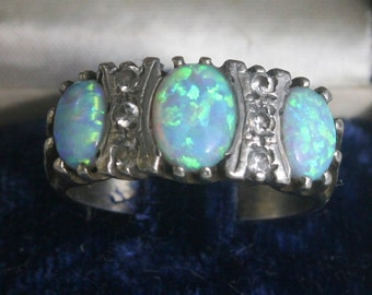 Vintage Sterling Silver and Opal Ring Sz 7 1/2