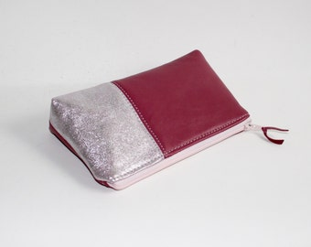 Small Leather Pouch. Leather Bag. Leather Make-Up Bag. Leather Cosmetic Bag in Mauve Pink and Silver Suede