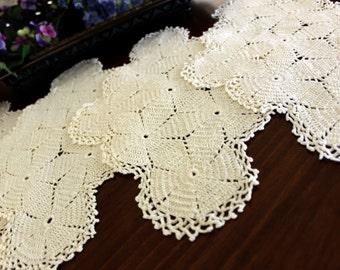 4 Large Doilies, Centerpiece Off White, Crochet Doilies, Hand Crocheted, Vintage Linens 13434