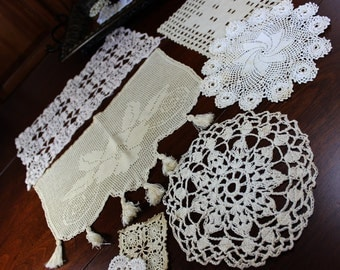 7 Assorted Crochet Doilies - Vintage Knit Doily, Ecru Lot 12763