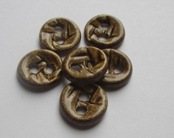 Warm Brown Ceramic Buttons