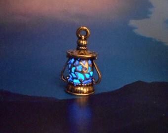 GLOW-in-the-DARK Lantern Necklace - Glows Blue - Light My Way