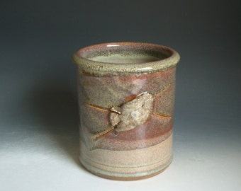 Hand thrown stoneware pottery kitchen utensil jar  (SJ-3)