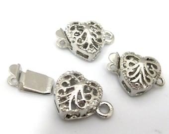2 clasps - Silver plated heart shape filigree design box clasp 11 mm x 16 mm - LN013