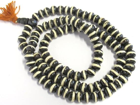 108 Mala bone beads - Tibetan 108 bone mala beads supply 10 mm size with Guru bead - ML029A