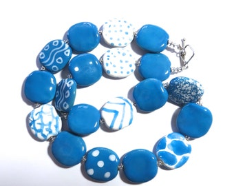 Ceramic Jewelry, Kazuri Bead Necklace, Statement Necklace, Turquoise and White Necklace