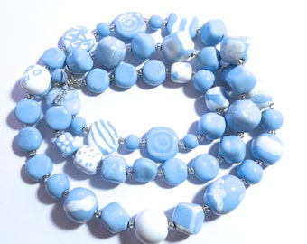 Kazuri Bead Necklace, Fair Trade Beads, Ceramic Necklace, Light Blue and White