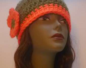 Womens Hat Collection Olive Green And Orange  Chunky Beanie With Flower Gift For Women Under 30 dollars