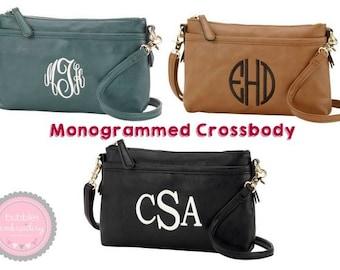 Monogrammed Crossbody Purse BLACK Hipster