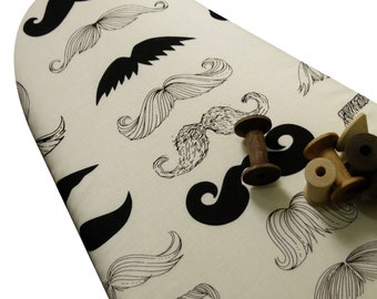 Ironing Board Cover Custom Designer Ironing Board Cover with ELASTIC BINDING made with Alexander Henry's mustaches fabric: pick the size