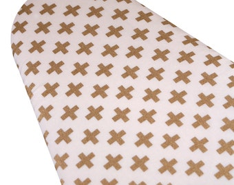 PADDED Ironing Board Cover Custom designer ironing board cover glittery gold golden Swiss crosses plusses plus sign cream fabric pick size
