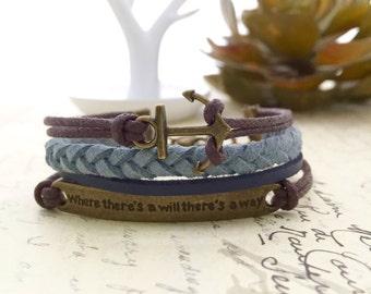 Anchor Bracelet, Handmade Bracelet, Friendship Bracelet, Gift Ideas, Cord Bracelet, Charm Bracelet, Affirmation Bracelet, Quote Bracelet