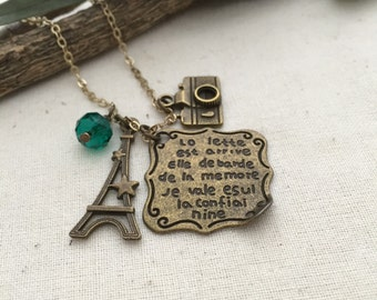 Paris Necklace, Camera Necklace, Handmade Necklace, Friendship Necklace, Gift Ideas, Eiffel Necklace