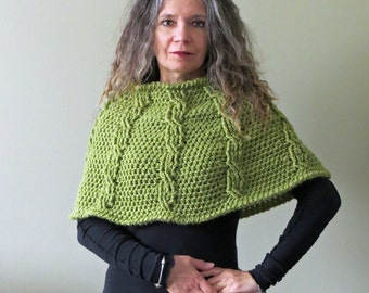 Crochet Capelet PATTERN / Shoulder Warmer / Women's Poncho Cable Stitches / Made in Canada
