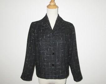 Vintage 1950s Jacket / 50s Charcoal Black Flecked Jacket In Pink & Blue - M
