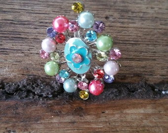 Colorful beaded ring with blue enamel flower - adjustable metal ring