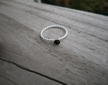Black Spinel Cabochon Ring, Sterling Silver, Size 7.5