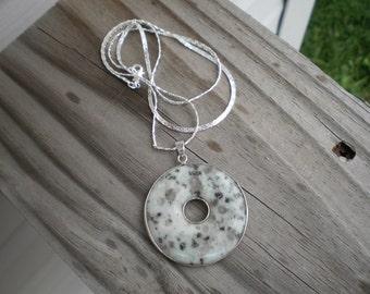 Kiwi Jasper Gemstone Donut Pendant Necklace