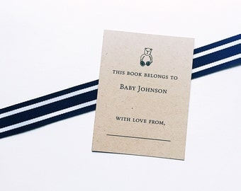 Adhesive kraft customized bookplates: optional matching baby shower invitations + thank you cards