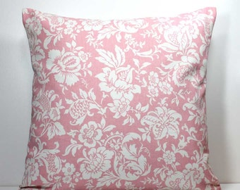 18 x 18 inch Decorative Throw Pillow Cover- Off White Flowers and Leaves on Pink - Invisible Zipper Closure