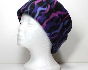 Purple on Black Fleece Hat Girls / Ladies Anti Pill Pillbox Fleece Hat Winter Hat Roll Brim Hat Fleece Hats Womans Fleece Hats
