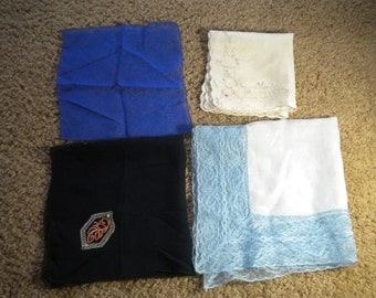 Vintage Handerchiefs Hankies of Silky & Sheer Fabric